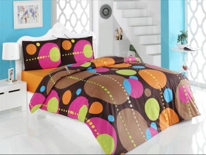 lenjerie de pat din bumbac cu buline colorate